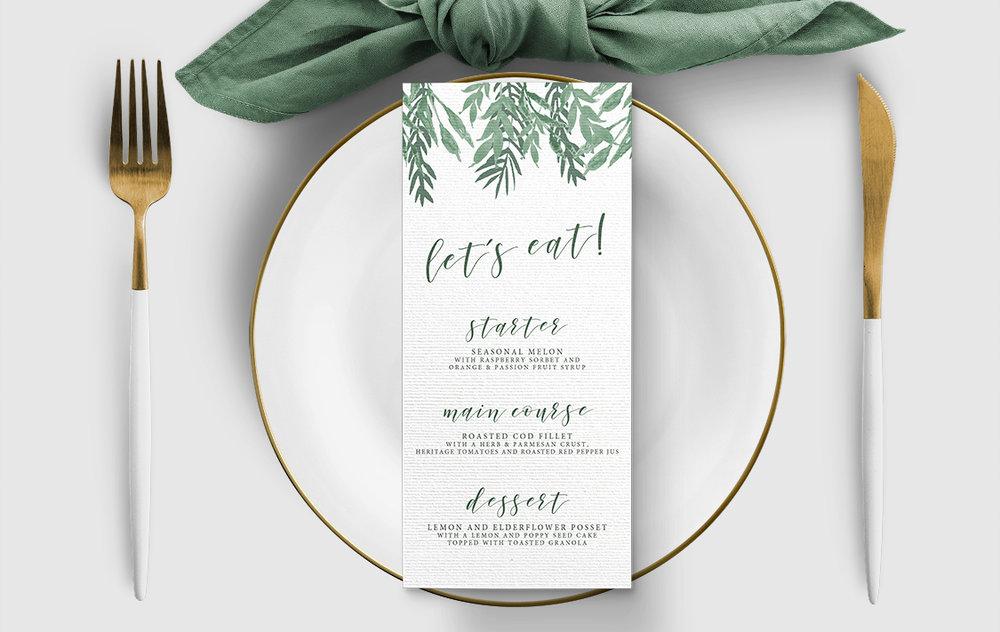 Elegant Sage Menu - sage green watercolour floral wedding stationery suite uk - Hawthorne and Ivory