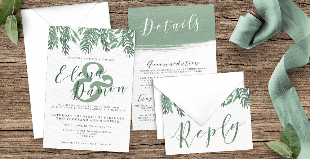 Elegant Sage Wedding Invitation Suite