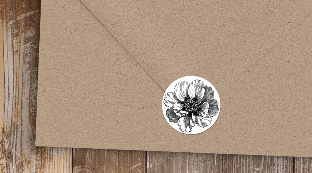 Simple Kraft Envelope Seal Sticker - rustic simple botanical floral wedding wedding stationery suite uk - Hawthorne and Ivory
