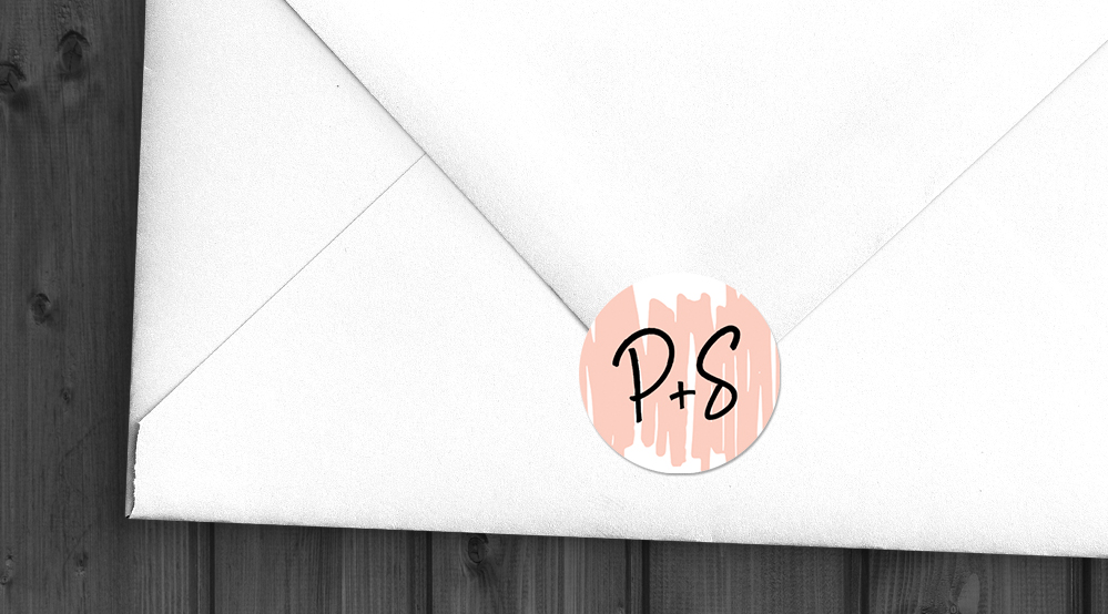 Black and Blush Envelope Seal Sticker - bold modern graphic wedding stationery suite uk - Hawthorne and Ivory