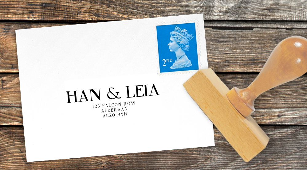 Black and White Return Address Stamp - bold watercolour brushstrokes wedding stationery suite uk - Hawthorne and Ivory