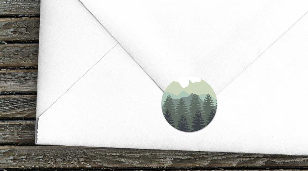 Blue Green Mountains Envelope Sealing Sticker - modern graphic outdoor wedding stationery suite uk - Hawthorne and Ivory