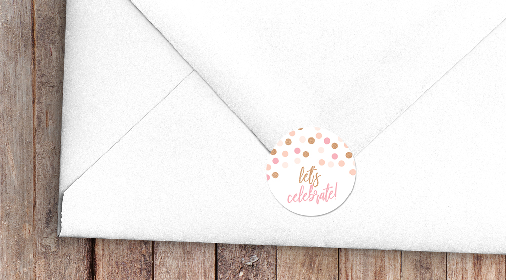 Blush Confetti Envelope Sealing Sticker - blush pink and rose gold whimsical wedding stationery suite uk - Hawthorne and Ivory