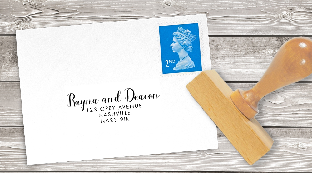 Bright Summer Floral Return Address Stamp - colourful pink watercolour flowers wedding stationery suite uk - Hawthorne and Ivory