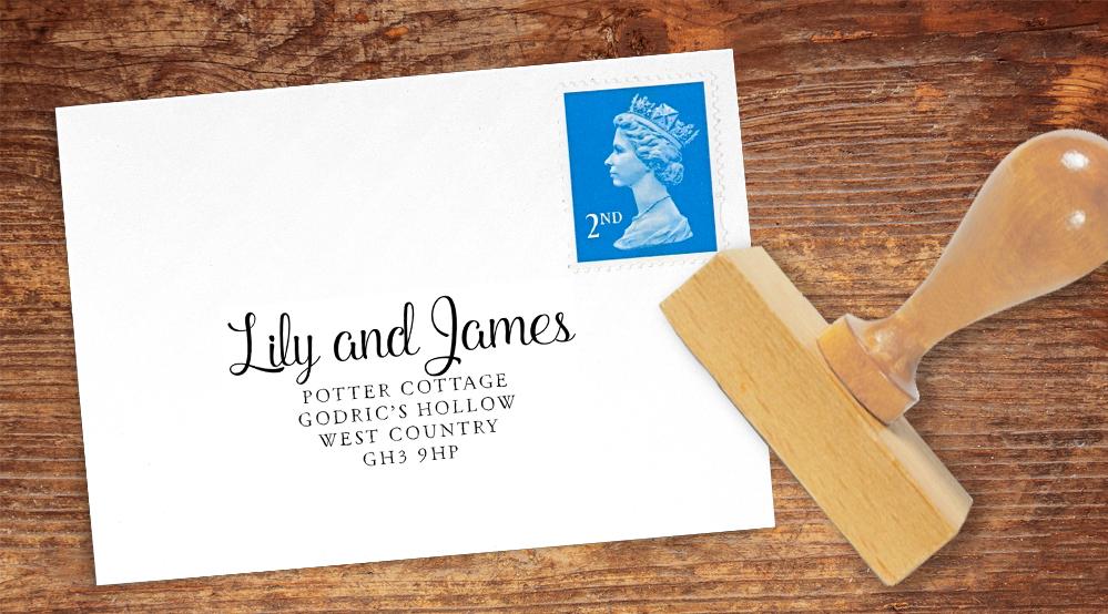 Chalkboard Return Address Stamp - rustic chalk slate grey wedding stationery suite uk - Hawthorne and Ivory
