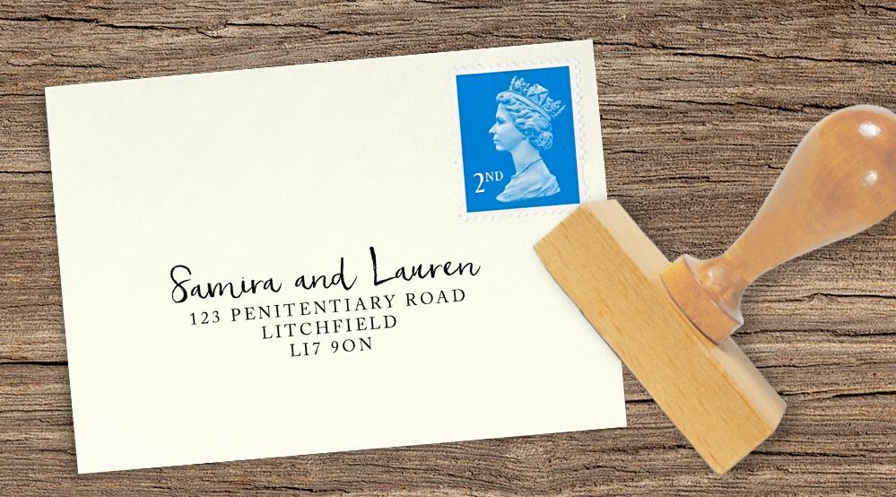 cranberry and mustard return address stamp