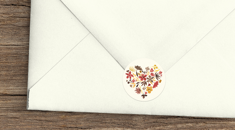 Cranberry and Mustard Envelope Sealing Sticker - burgundy red yellow autumn watercolour flowers wedding stationery suite uk - Hawthorne and Ivory