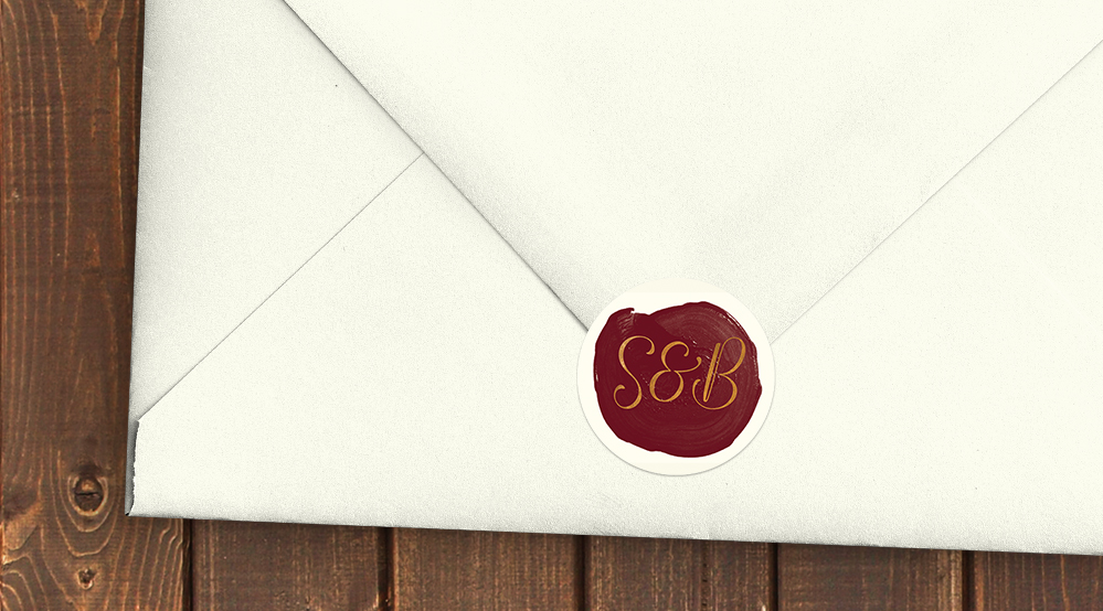 Marsala Wine Envelope Seal Sticker - burgundy red watercolour gold copper wedding stationery suite uk - Hawthorne and Ivory