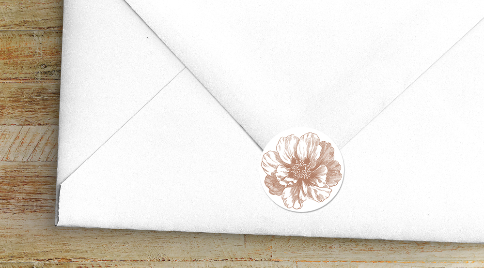 Nude Classic Envelope Seal Sticker - vintage beige neutral floral wedding stationery suite uk - Hawthorne and Ivory