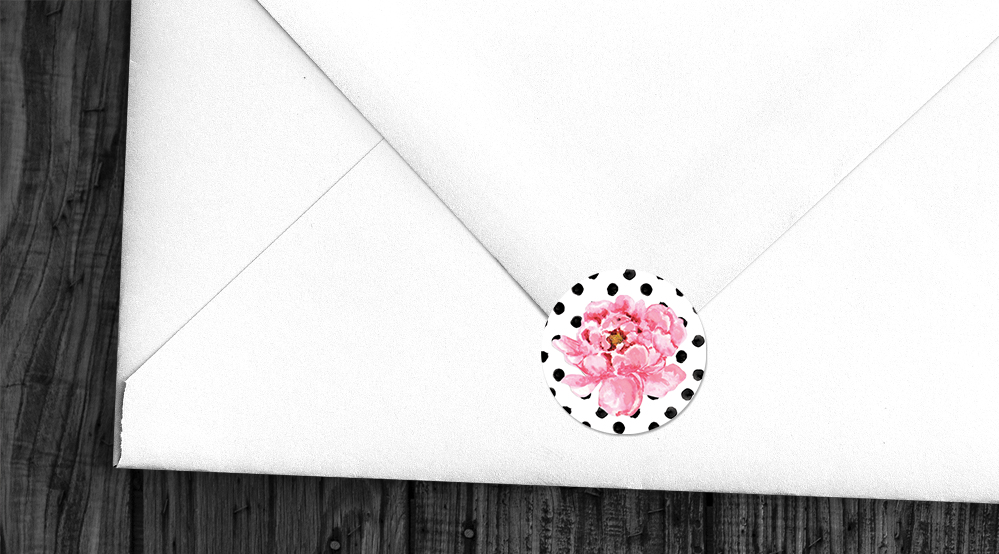 Polka Dot Peony Envelope Sealing Sticker - watercolour pink floral wedding wedding stationery suite uk - Hawthorne and Ivory