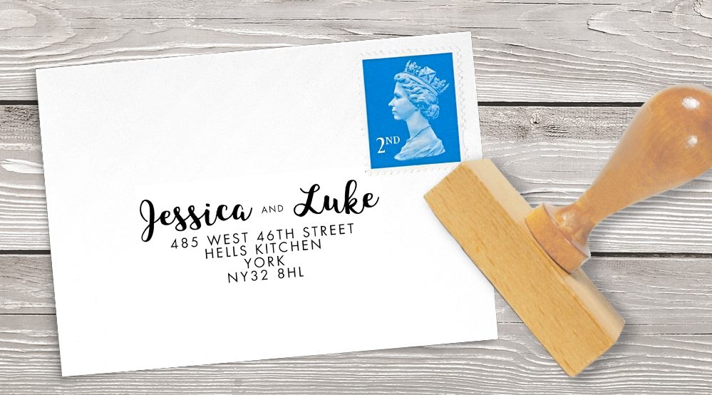 Retro Chic Return Address Stamp - painted chevron modern mustard slate blue coral peach wedding wedding stationery suite uk - Hawthorne and Ivory