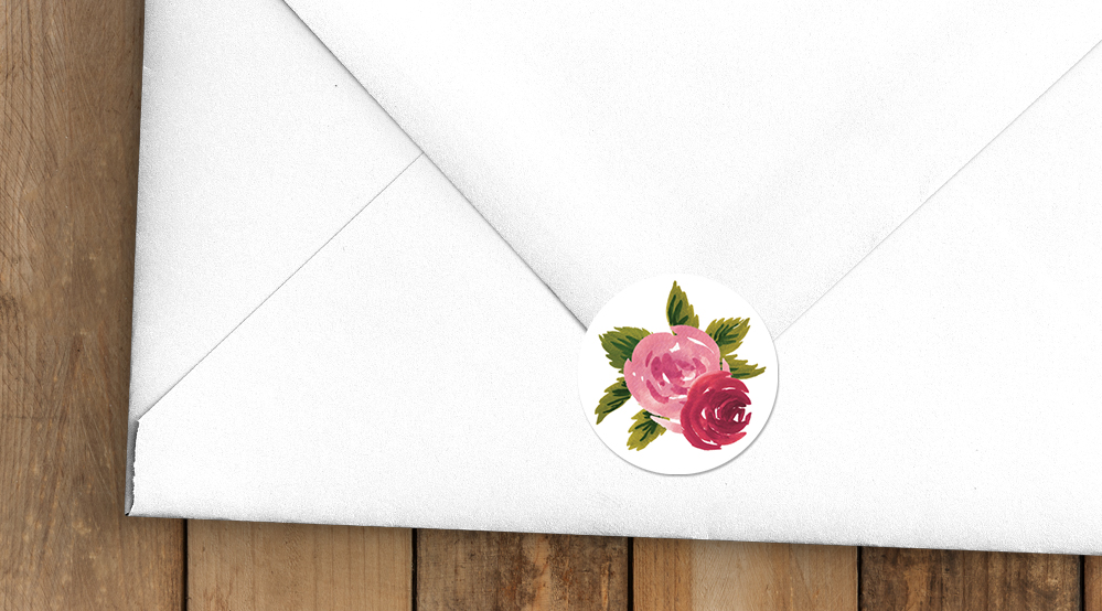 Rustic Rose Envelope Seal Stickers - red pink roses watercolour wedding wedding stationery suite uk - Hawthorne and Ivory