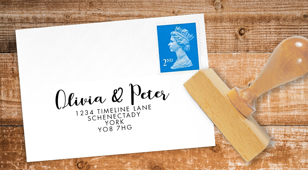 Soft Peach Return Address Stamp - watercolour painted coral simple wedding wedding stationery suite uk - Hawthorne and Ivory