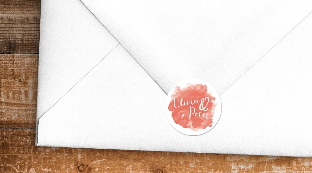 Soft Peach Envelope Sealing Sticker - watercolour painted coral simple wedding wedding stationery suite uk - Hawthorne and Ivory