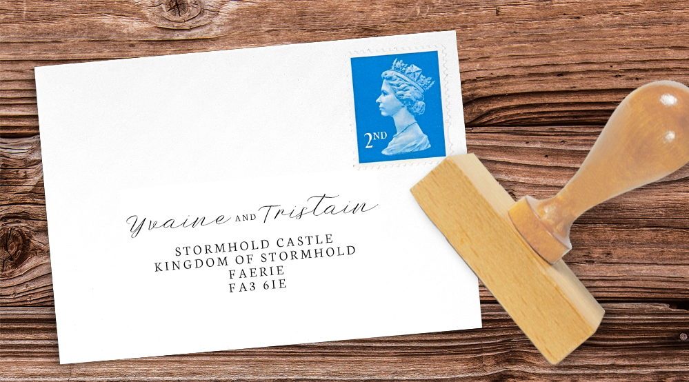 Starry Night Return Address Stamp - watercolour celestial stars constellation moon navy wedding wedding stationery suite uk - Hawthorne and Ivory
