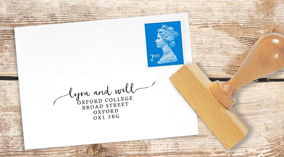 Subtle Powder White Return Address Stamp - minimal simple pale grey wedding wedding stationery suite uk - Hawthorne and Ivory