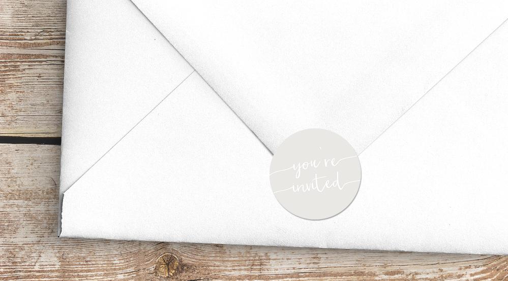 Subtle Powder White Envelope Seal Sticker - minimal simple pale grey wedding wedding stationery suite uk - Hawthorne and Ivory