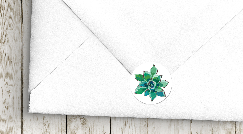 Succulent Rose Envelope Seal Sticker - teal turquoise hydrangea eucalyptus floral wedding stationery suite uk - Hawthorne and Ivory