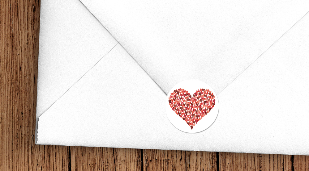 Valentines Hearts Envelope Seal Sticker - watercolour red pink heart wedding stationery suite uk - Hawthorne and Ivory