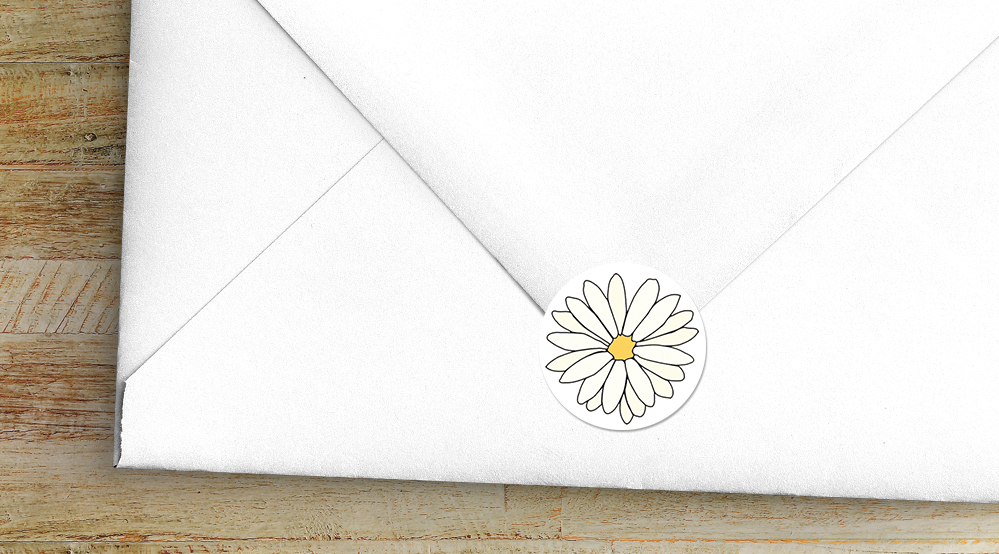 Yellow Daisy Envelope Sealing Sticker - lemon floral simple modern wedding stationery suite uk - Hawthorne and Ivory