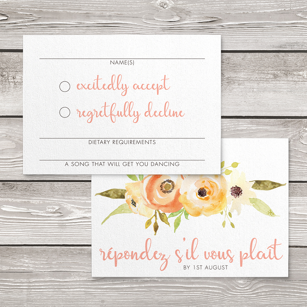 Spring Flowers RSVP Card - watercolour painted floral peach coral peony wedding wedding stationery suite uk - Hawthorne and Ivory