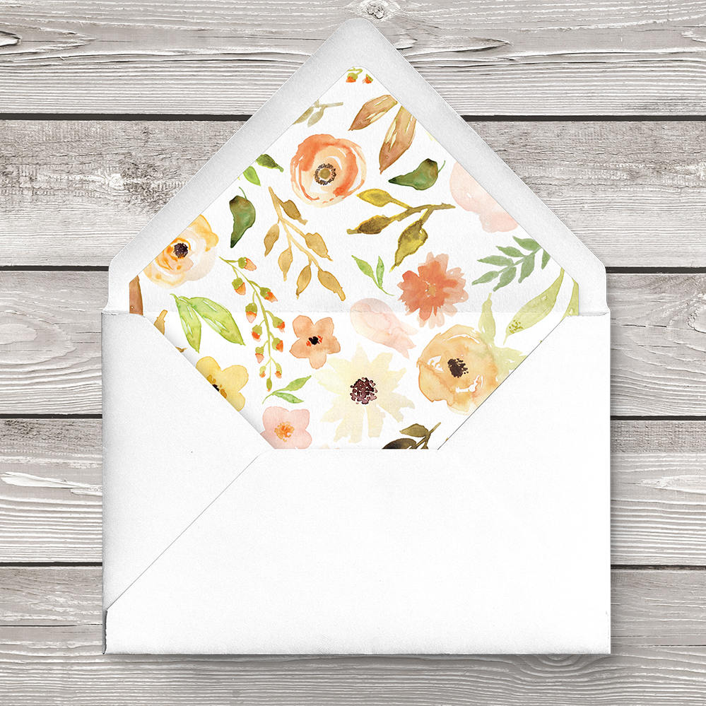 Spring Flowers Envelope Liner - watercolour painted floral peach coral peony wedding wedding stationery suite uk - Hawthorne and Ivory