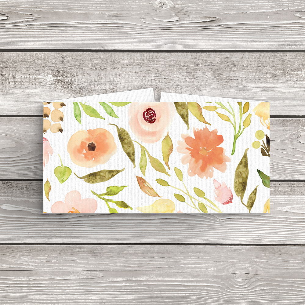 Spring Flowers Belly Band - watercolour painted floral peach coral peony wedding wedding stationery suite uk - Hawthorne and Ivory