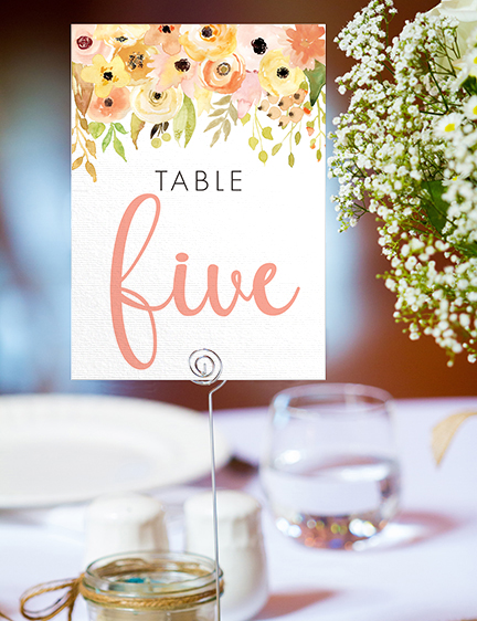 Spring Flowers Table Number - watercolour painted floral peach coral peony wedding wedding stationery suite uk - Hawthorne and Ivory