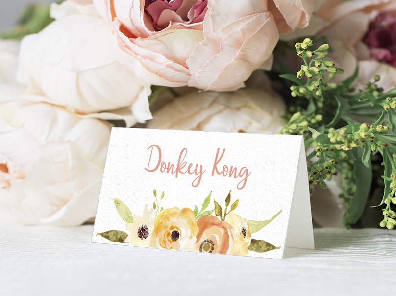 Spring Flowers Placecard - watercolour painted floral peach coral peony wedding wedding stationery suite uk - Hawthorne and Ivory