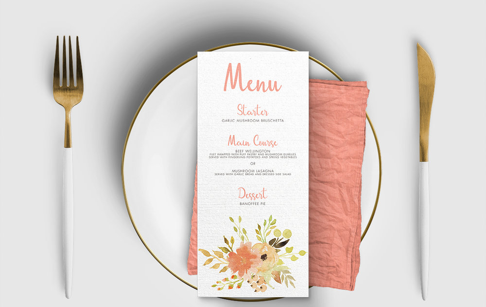 Spring Flowers Menu Card - watercolour painted floral peach coral peony wedding wedding stationery suite uk - Hawthorne and Ivory