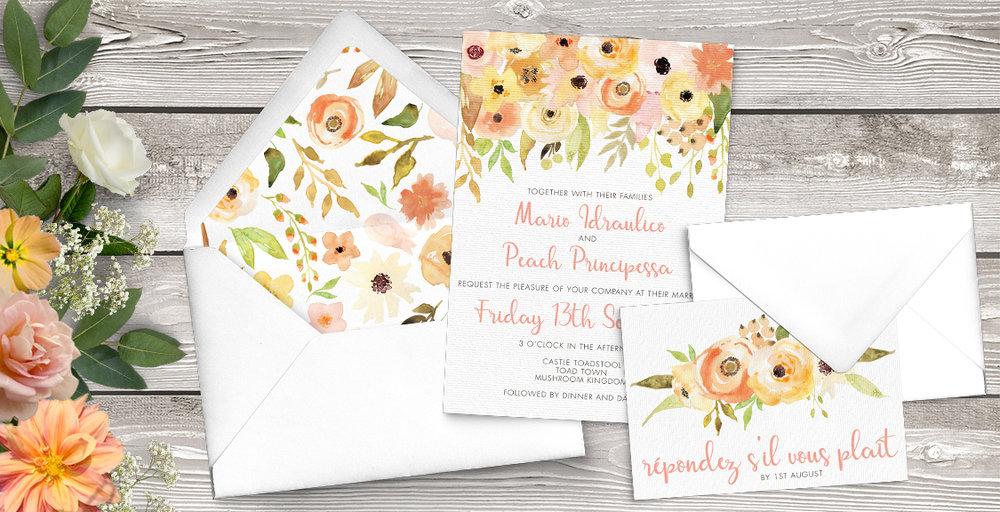 Spring Flowers Wedding Invitation Suite
