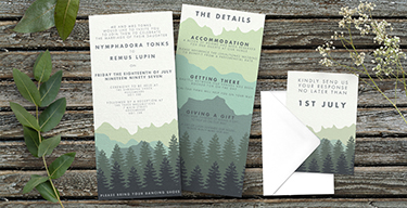 blue green mountains outdoor wedding invitations