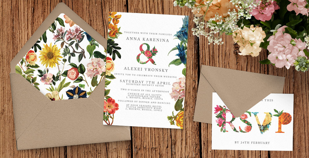 Floribunda Wedding Invitation Suite - vintage floral wedding invites uk - Hawthorne and Ivory