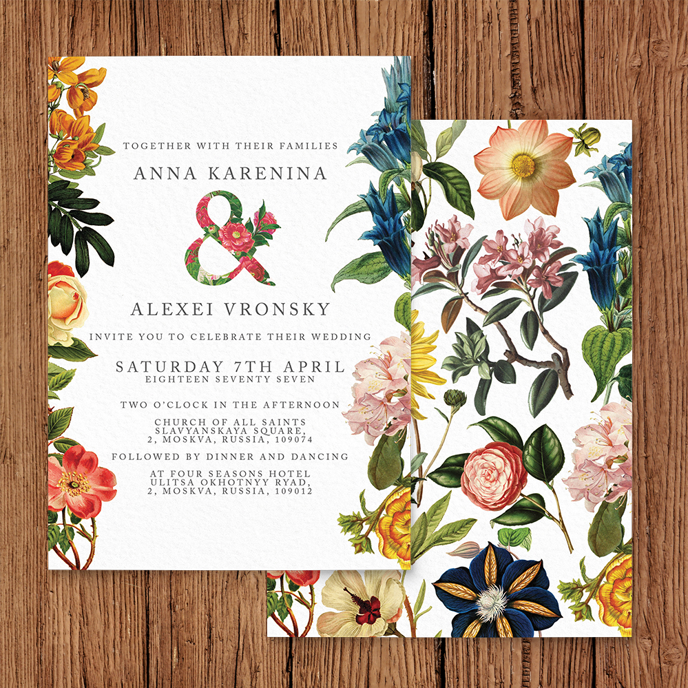 Floribunda Invitation - vintage floral wedding stationery suite uk - Hawthorne and Ivory