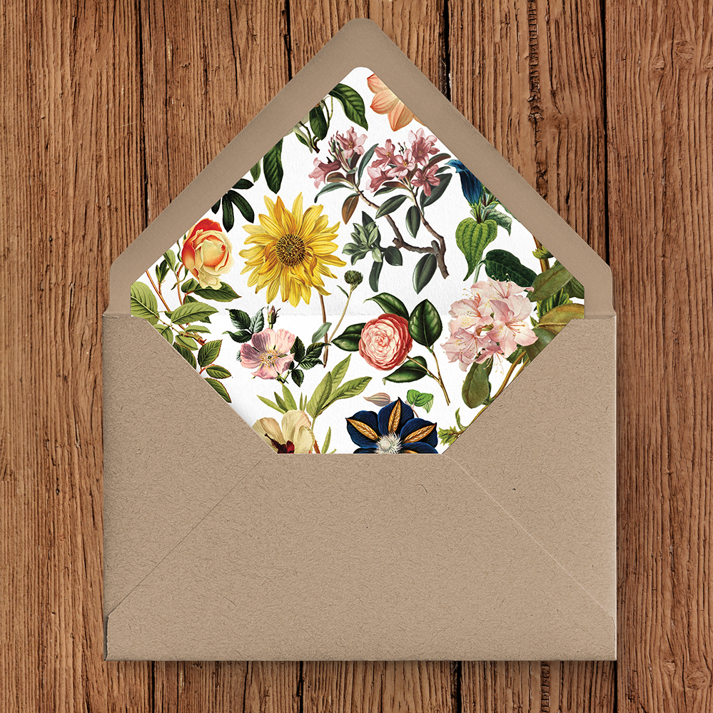 Floribunda Kraft Envelope and Liner - vintage floral wedding stationery suite uk