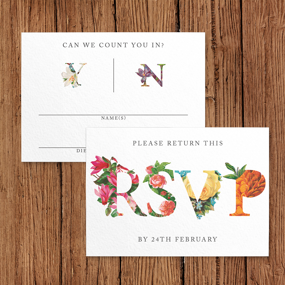 Floribunda RSVP Card - vintage floral wedding stationery suite uk