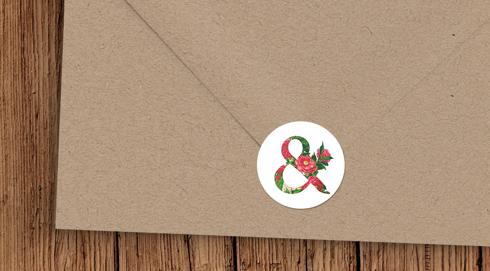 Floribunda Kraft Envelope Seal Sticker - vintage floral wedding stationery suite uk - Hawthorne and Ivory