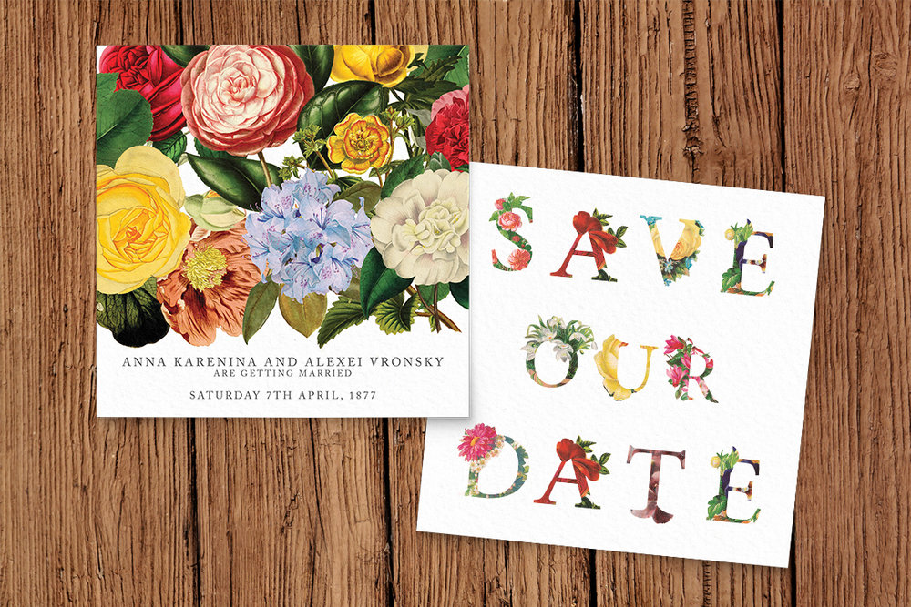 Floribunda Save The Date - vintage floral wedding stationery suite uk - Hawthorne and Ivory