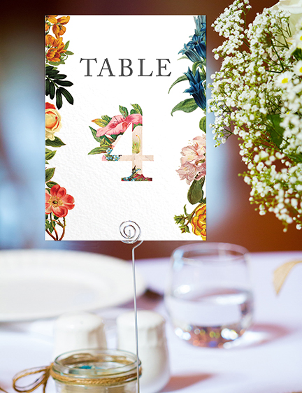 Floribunda Table Number - vintage floral wedding stationery suite uk - Hawthorne and Ivory