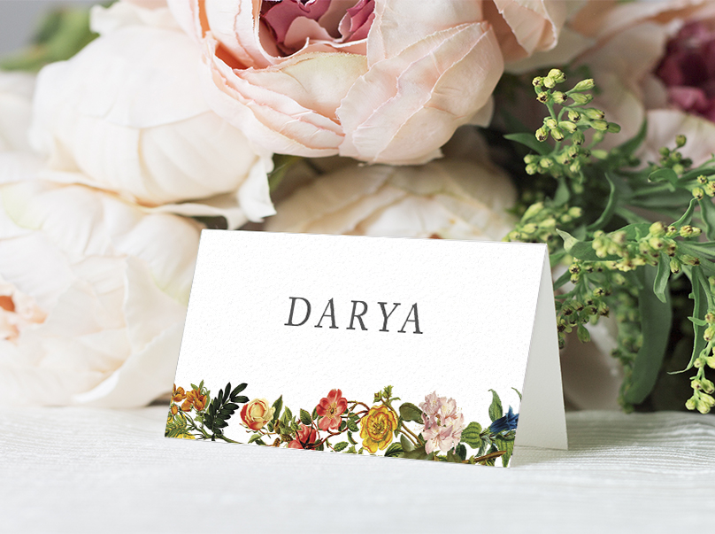 Floribunda Place Card - vintage floral wedding stationery suite uk - Hawthorne and Ivory
