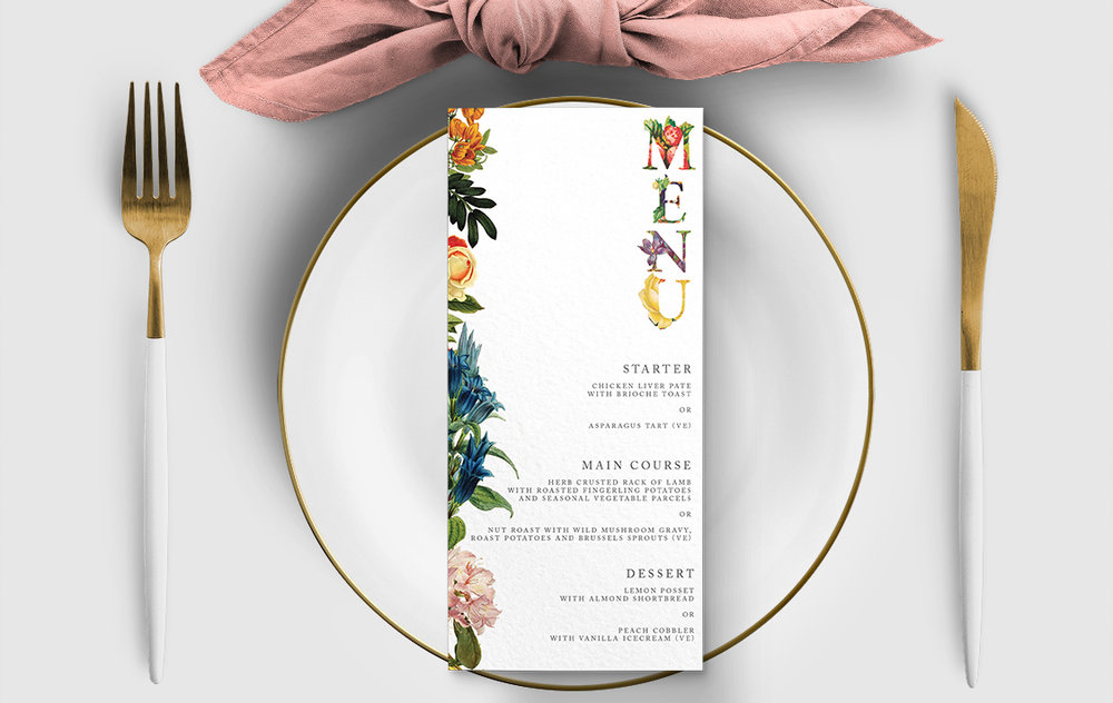 Floribunda Menu Card - vintage floral wedding stationery suite uk - Hawthorne and Ivory