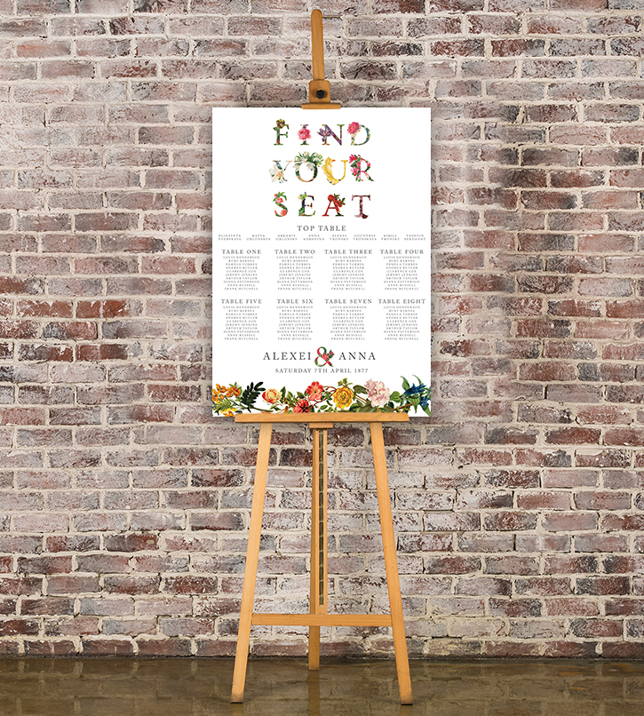 Floribunda Table Plan - vintage floral wedding stationery seating chart uk - Hawthorne and Ivory