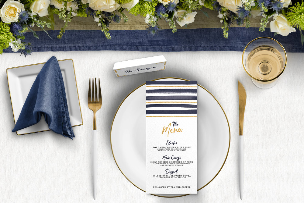 Navy and Gold Tablescape - nautical stripe blue gold watercolour wedding stationery place setting menu table number uk - Hawthorne and Ivory