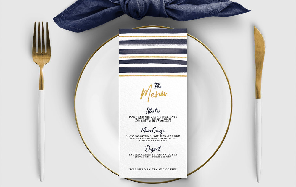 Navy and Gold Menu - nautical stripe blue gold watercolour wedding stationery suite uk - Hawthorne and Ivory