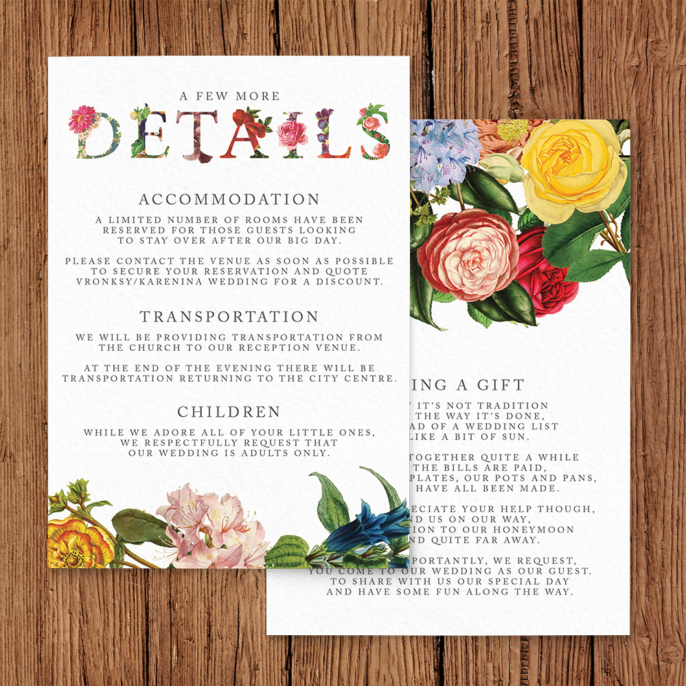 Floribunda Details Card - vintage floral wedding stationery suite uk