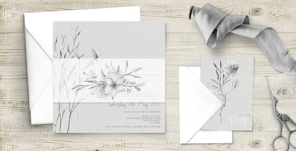 Grey Dust Invitation - hand drawn flowers illustrated floral wedding wedding stationery suite uk - Hawthorne and Ivory