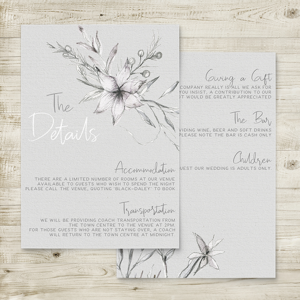 Grey Dust Details Card - hand drawn flowers illustrated floral wedding wedding stationery suite uk - Hawthorne and Ivory