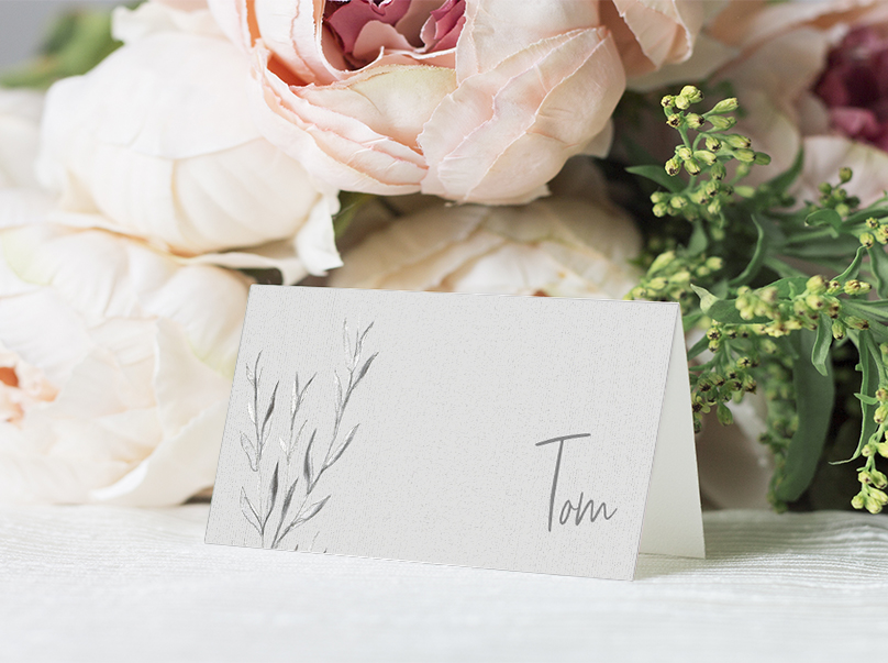 Grey Dust Placecard - hand drawn flowers illustrated floral wedding stationery place setting menu card table number uk - Hawthorne and Ivory