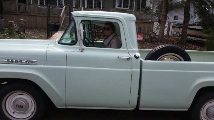 The guy who sold us the house had this beautiful old minty pickup. He was sweet and let me sit in it for a picture.