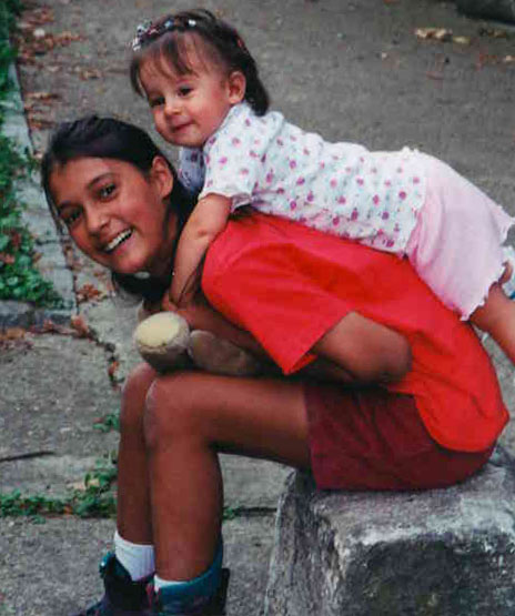 Ramona in 2001, with a Caba cousin.